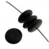 Glass Bead 8mm Round Flat Spacer Black Matte